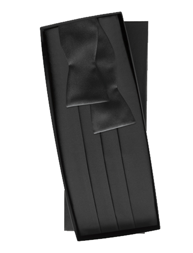 Black Silk Self Tie Cummerbund Set